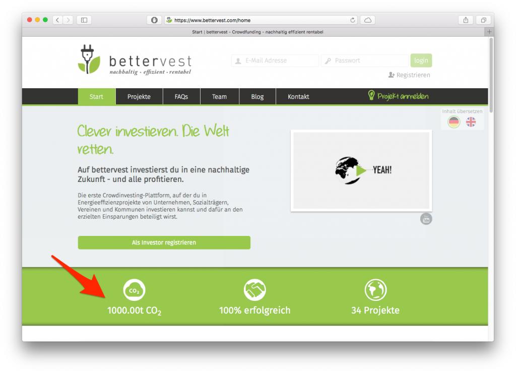 Screenshot von bettervest.com am 24. Januar 2016