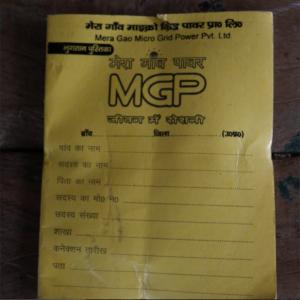 Jeder Kunde eines Microgrid besitzt ein MGP-Booklet indem alle Zahlungen notiert werden