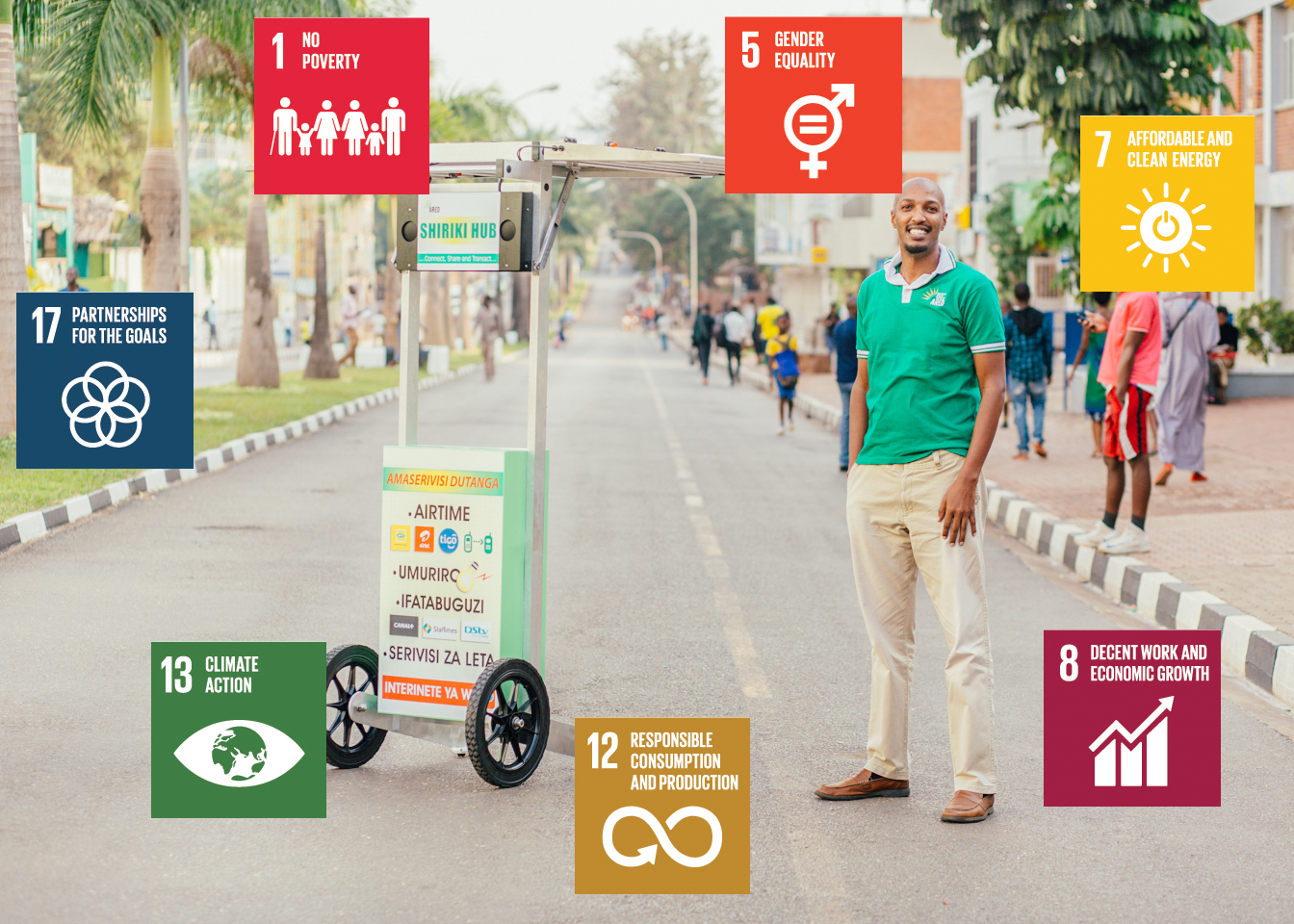 ARED SDGs Henri Nyakarundi in front of Solar Hubs